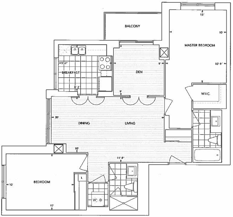 2 Bedroom + Den Condo For Rent In Nuvo II
